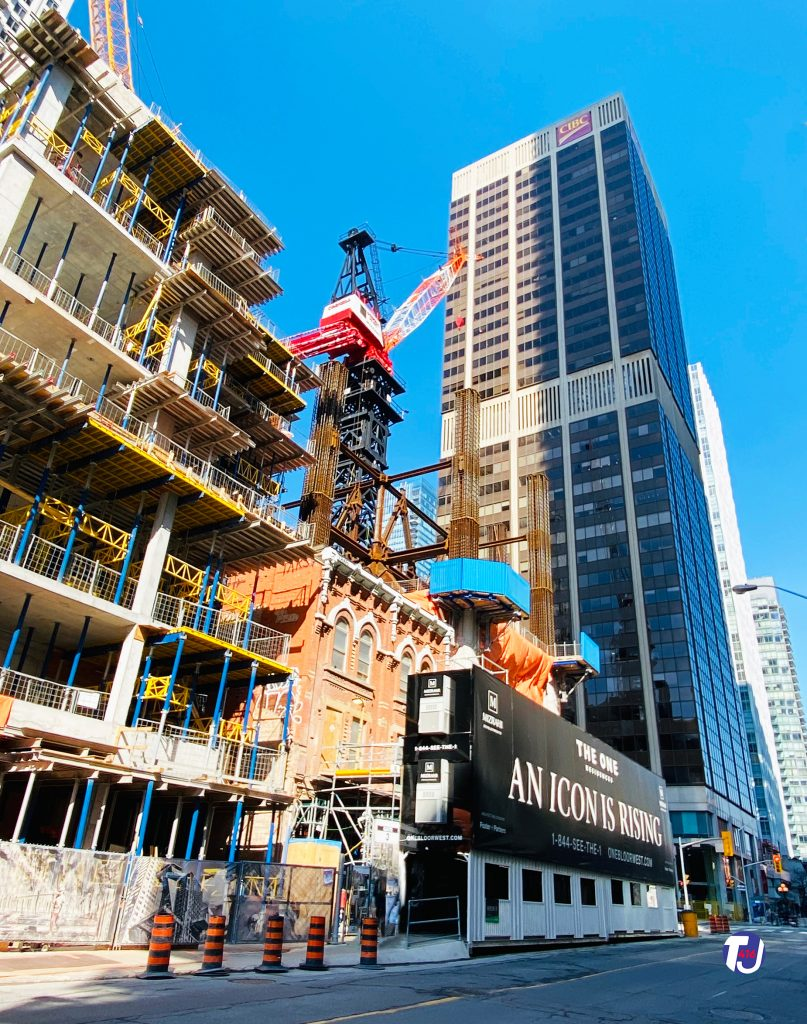 2021 - Construction of The One on the southwest corner of Yonge and Bloor Sts, the corner that Stollery's once occupied