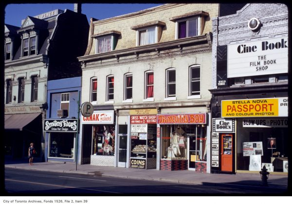 1973 - Smiling Faces, Canak Fashions, Swiss Watch Shop, Tranquility Bay and Cine Books once at 686 to 692A Yonge St, south of St Mary St