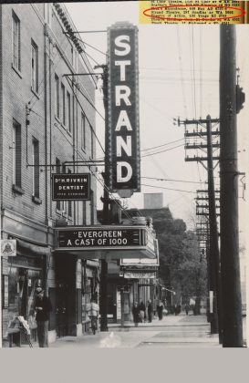 1935/37 - Strand Theatre (originally Standard, and later Victory Burlesque, Golden Harvest) once at 287 Spadina Ave and Dundas St W, northeast corner - opened from 1922 to about 1994, now Rexall Drugstore