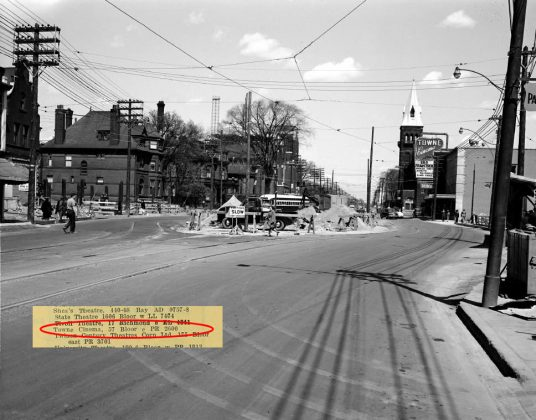 1950's - Towne Cinema once at 57 Bloor St E, east of Yonge St on south side - opened from 1949 to 1985, building no longer exists