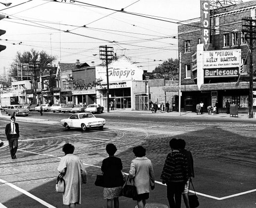 1968 - The Victory Burlesque Theatre and Shopsy's Deli at Spadina Ave and Dundas St W, looking northeast