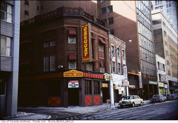 1984 - Ye Olde Gregory Tavern once on Adelaide St W (between Bay & Yonge Sts, south side)
