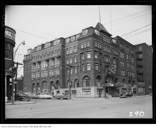 1950 - Barclay Hotel once at Front St W & Simcoe St, northeast corner