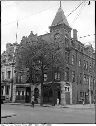1945 - Dominion Hotel once at 500 Queen St E at Sumach St, northwest corner - now Dominion Pub and Kitchen