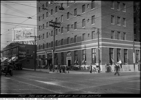 1928 - Hotel Ford once at Bay St and Dundas St W, northeast corner - building no longer exists