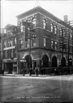 1913 - Hotel Lamb once at Yonge and Adelaide Sts, southwest corner - building no longer exists
