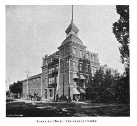 1891 - Lakeview Hotel and later Winchester Hotel once at 537 Parliament St at Winchester, southeast corner