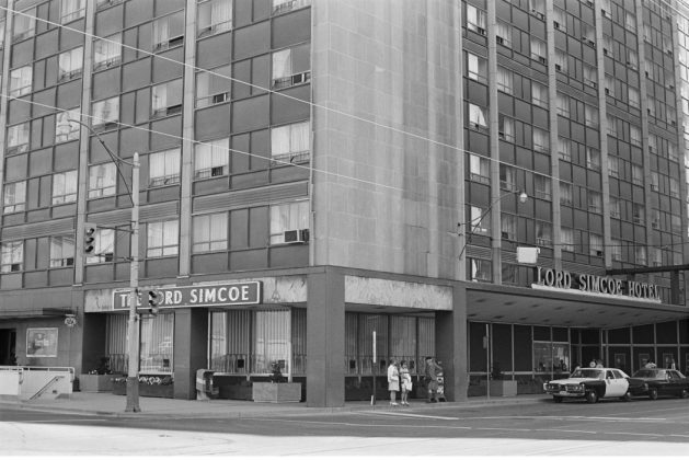 1972 - Lord Simcoe Hotel once at 150 King St W, and University Ave, northeast corner