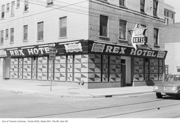 1972 - Rex Hotel at 194 Queen St W, at St Patrick St