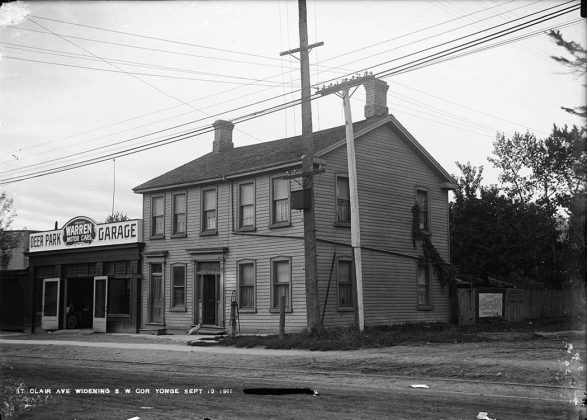 1911 - Seller's Hotel once at Yonge St and St Clair Ave, southwest corner - notice the water pump