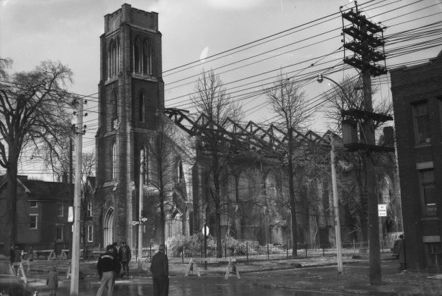 1955 - St. George-The-Martyr Anglican Church at 30 Stephanie St (at John St Toronto Public Library r-195)