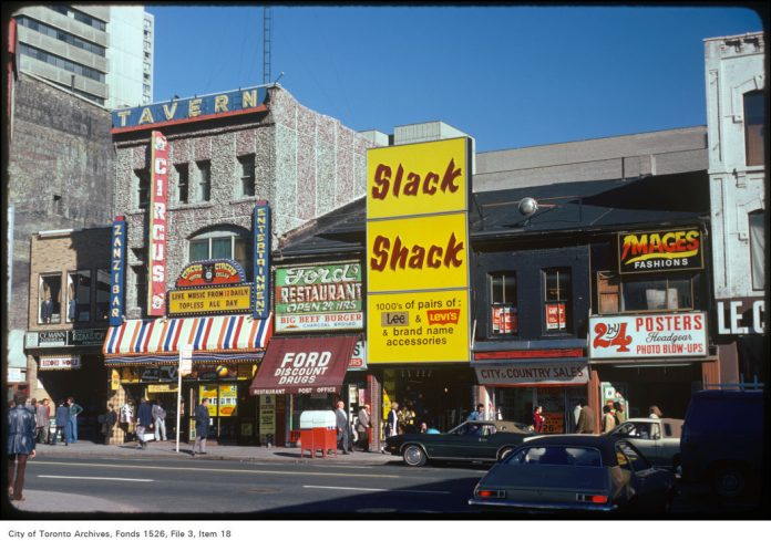 The Zanzibar Tavern, Ford Discount Drugs and the Slack Shack on Yonge St in Toronto (1975 City of Toronto Archives)