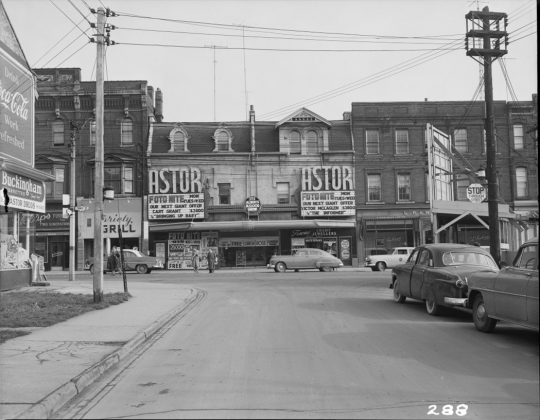 1950 - Astor Theatre (previously Victory, Embassy, and later New Yorker, Showcase, Festival) once at 651-653 Yonge St, south of Charles St on east side - now CAA Theatre formerly Panasonic