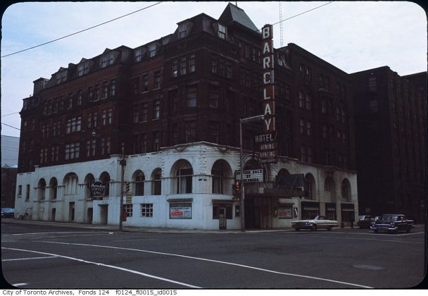 1965 - Barclay Hotel once at Front St W & Simcoe St, northeast corner