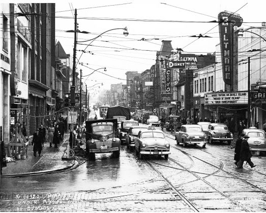 1950 - Biltmore Theatre built in 1948, once at 319 Yonge St, east side north of Dundas St E - building no longer exists