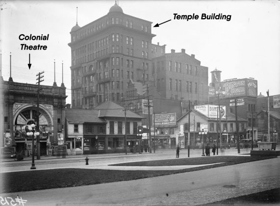 1920 - Colonial Theatre, once at 45 Queen St W, south side east of Bay St - opened around 1910, closed 1933, 17 years later Bay Theatre