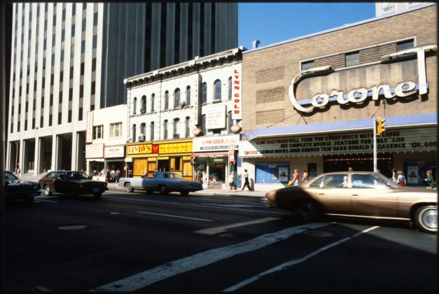 1978/80 - Coronet Theatre originally named The Savoy once at 399 Yonge St at Gerrard St E, northeast corner - opened from 1951 to early 1980's, now Barclay Jewelry