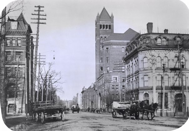 1895 - Daly House once at 27 Simcoe St at Front St W, southeast corner - building no longer exists