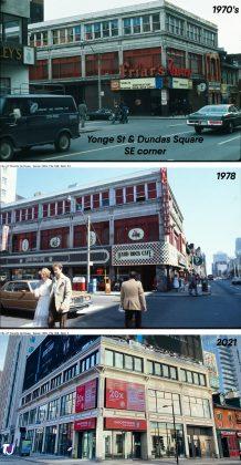 1970's/1978/2021 - Friar's Tavern and Hard Rock Cafe once at 279 Yonge St (at Dundas Square), now Shoppers Drug Mart
