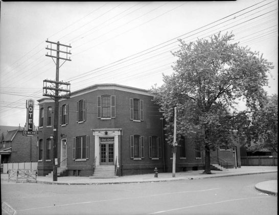1945 - Hotel Simcoe once at 508 Eastern Ave and Morse St, northwest corner