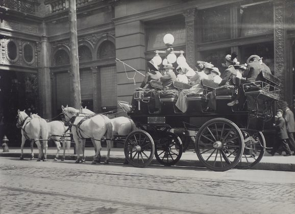"""1913 - The """"King Edward Bus"""" with 4 horses and carriage in front of the King Edward Hotel (Toronto Public Library s-r-657)"""