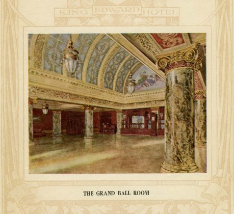 1903 - Sketch of the Grand Ball Room from the King Edward Hotel brochure