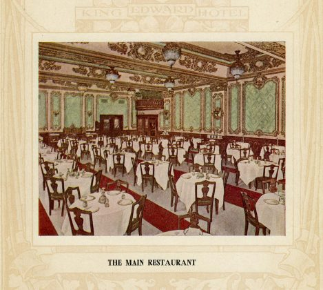 1903 - Sketch of the Main Restaurant from the King Edward Hotel brochure