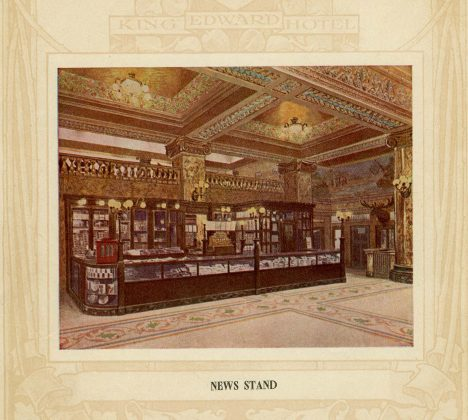 1903 - Sketch of the News Stand from the King Edward Hotel brochure