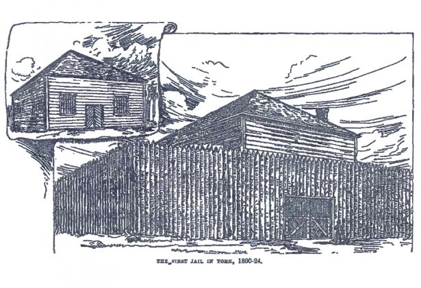 1800's - Sketch of York's first jail (1798 to mid 1820's) at King St E & Leader Lane, southwest corner, from the Landmarks of Toronto Volume 1 book by J Ross Robertson
