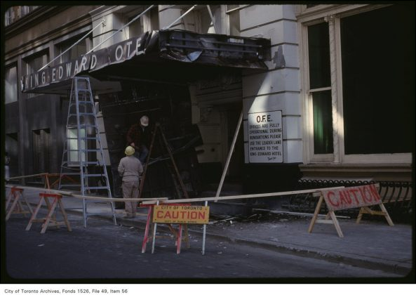 1980 - The Victoria St entrance of the King Edward Hotel during renovations