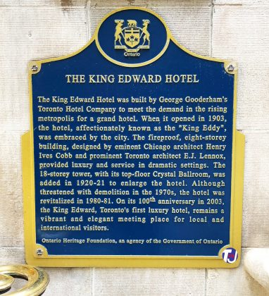 2021 - The King Edward Hotel heritage plaque