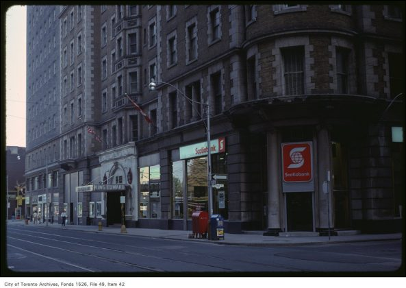 1979 - The King Edward Hotel and Scotiabank at King St E & Victoria St, looking southeast