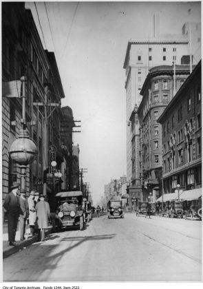 1921 - King St E, looking east from Yonge St toward the King Edward Hotel