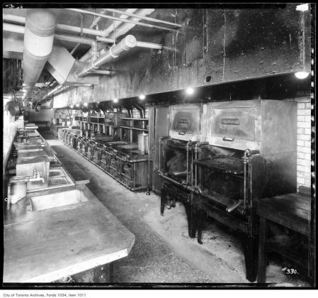1926 - Gas ranges and broilers in one of several kitchens at the King Edward Hotel