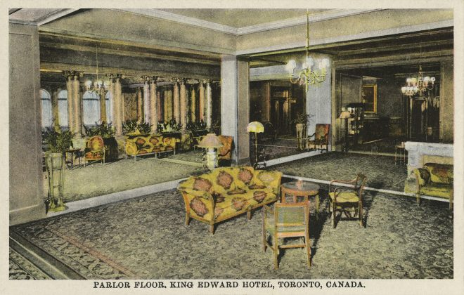 1910 - A postcard of the parlor at the King Edward Hotel (Toronto Public Library pc376)