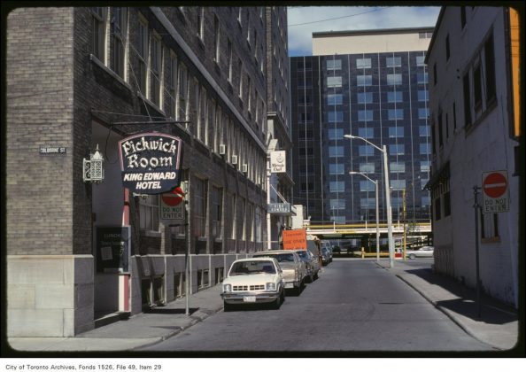 1979 - The King Edward Hotel and the Pickwick Room on Leader Lane & Colborne St, looking north