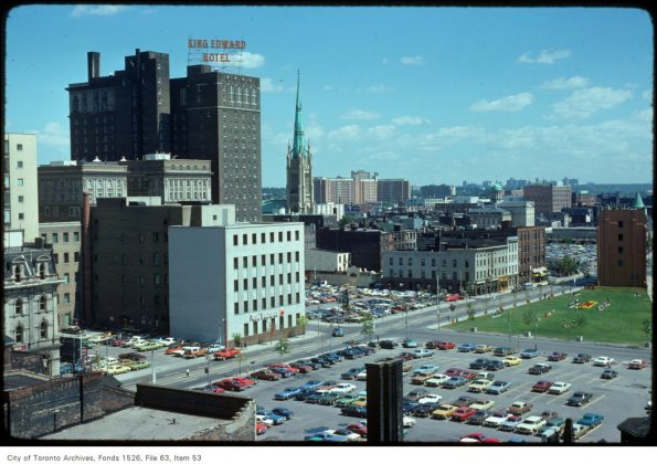 1975 - A view of the King Edward Hotel, the Cathedral of St James and area, looking northeast