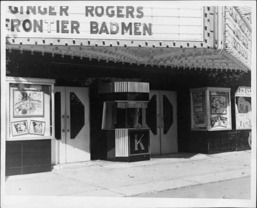 1943 - The box office, entrance and partial marquee of the Kingsway Theatre