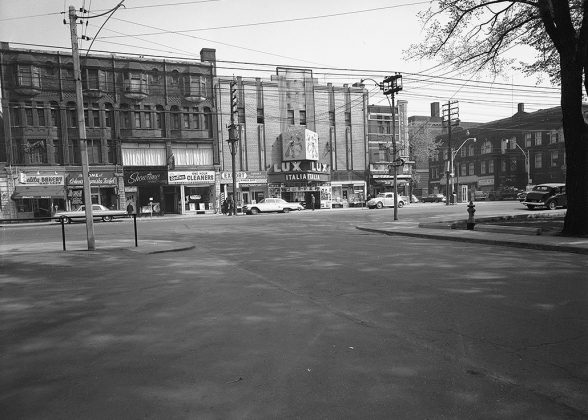 1960 - Lux Burlesque formerly Bellevue Theatre once at 360-362 College St, north side west of Brunswick Ave - opened from 1959 to 1961, building no longer exists