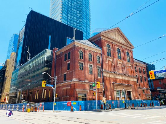 Massey Hall at 178 Victoria St at Shuter St, southeast corner - under renovation/resoration
