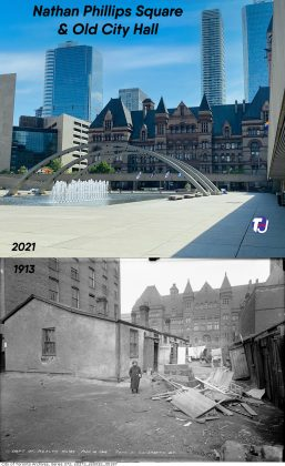 2021/1913 – Looking east from Nathan Phillips Square, formerly The Ward, towards Old City Hall