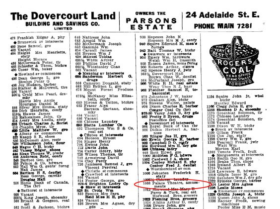 1911 - The Toronto City Directory showing the address as the Palace Theatre (Toronto Public Library)