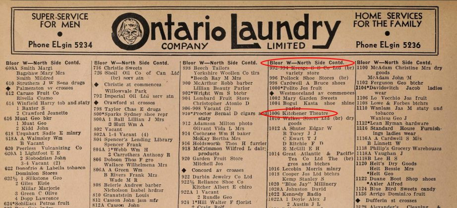 1934 - The Toronto City Directory showing the address as the Kitchener Theatre, from 1918 to 1937 (Toronto Public Library)