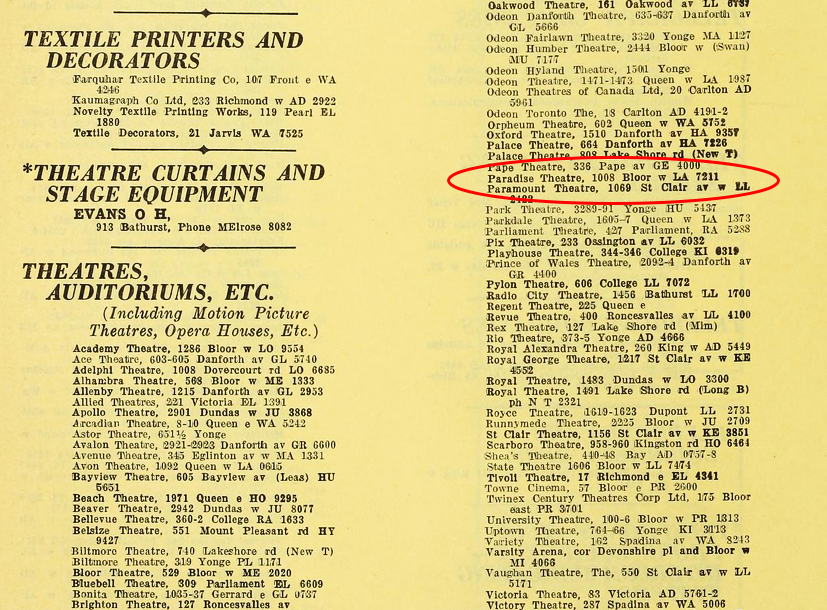 1950 - The Toronto City Directory showing the address of the Paradise Theatre