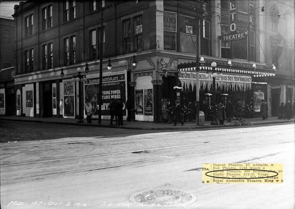 1916 - Rialto Theatre once at 219-221 Yonge St at Shuter St, southeast corner