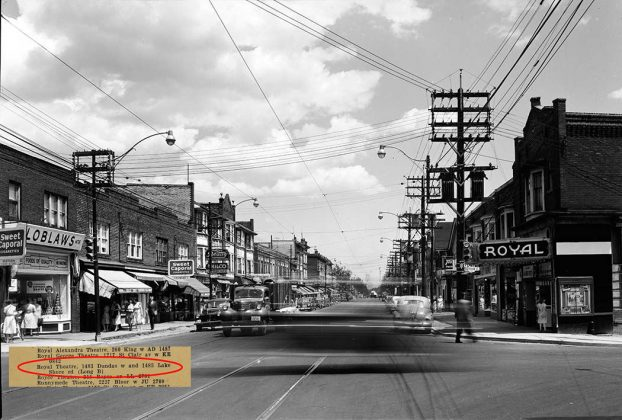 1951 - Royal Theatre, later Roma at 1483 Dundas St W at Dufferin, southeast corner