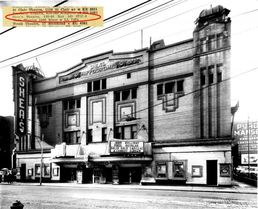 1956 - Shea's Hippodrome Theatre once at 18 Teraulay St (which later became 440 Bay St), north of Queen St W on east side - opened from 1914 to about 1957, building no longer exists