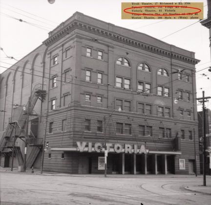 1955 - Shea's Victoria Theatre once at 83 Victoria St and Richmond St E, southeast corner - opened from 1910 to 1956, building no longer exists