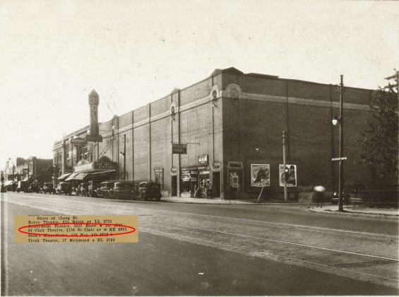 1930 - St Clair Theatre, later Cinema St Clair once at 1154-1156 St Clair Ave, east of Dufferin St on north side - opened in 1921