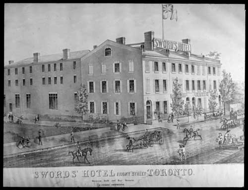 1846 - Sword's Hotel once on Front St W, between Bay & York Sts - the site of today's Royal York Hotel